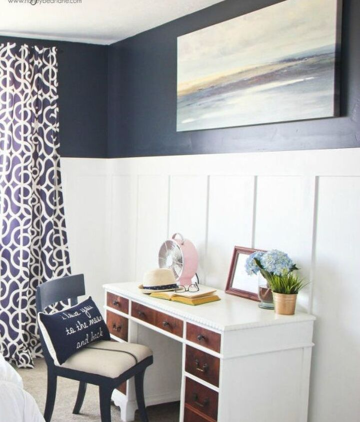 s 13 stylish ideas you ll want to steal for your boring bedroom, bedroom ideas, Contrast board and batten with a bold color