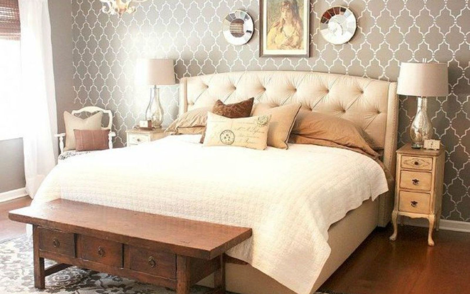 s 13 stylish ideas you ll want to steal for your boring bedroom, bedroom ideas, Paint an accent wall with a stencil