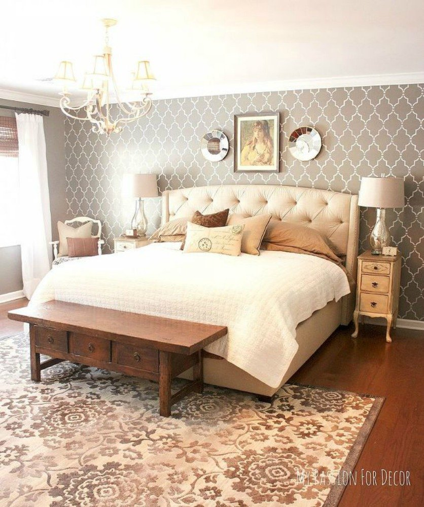 Paint an accent wall with a stencil. 13 Stylish Ideas You ll Want to Steal for Your Boring Bedroom