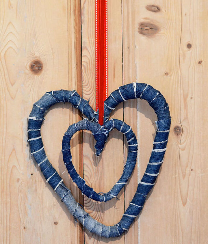 great way to use your old jeans to decorate your home for valentine s, home decor, seasonal holiday decor, valentines day ideas