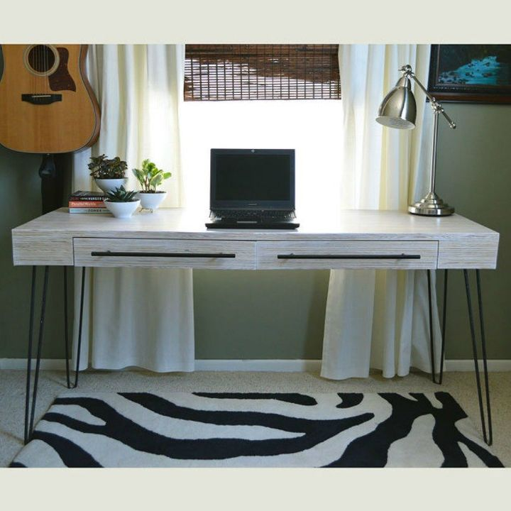 s 13 incredible living room updates using leftover wood, Line thin pieces into a desk