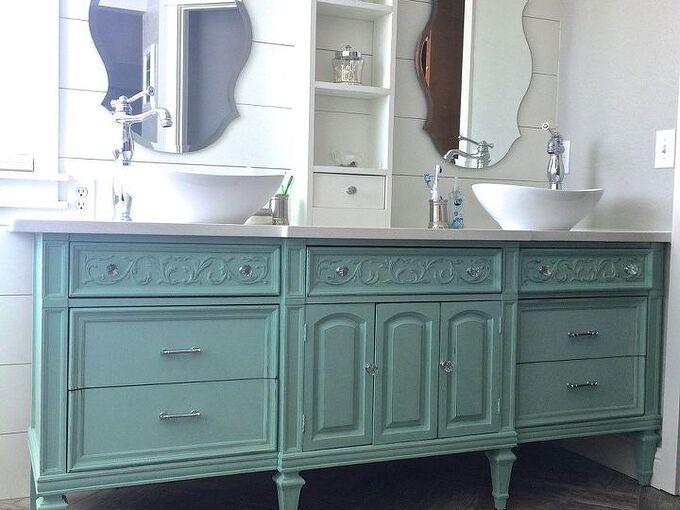 dresser vanity, bathroom ideas, painted furniture