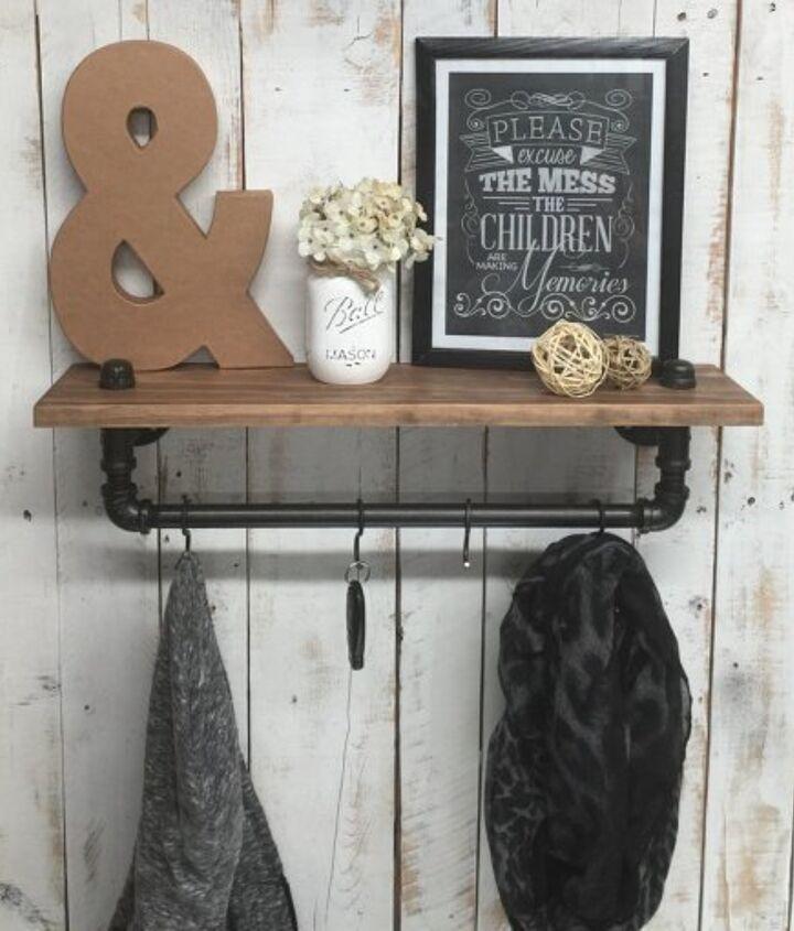 rustic farmhouse inspired shelf, shelving ideas