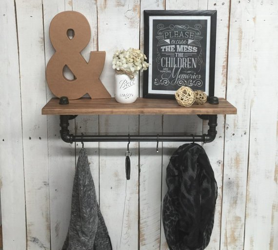 rustic farmhouse inspired shelf, shelving ideas