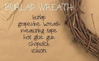 rustic burlap wreath, crafts, wreaths, Supplies