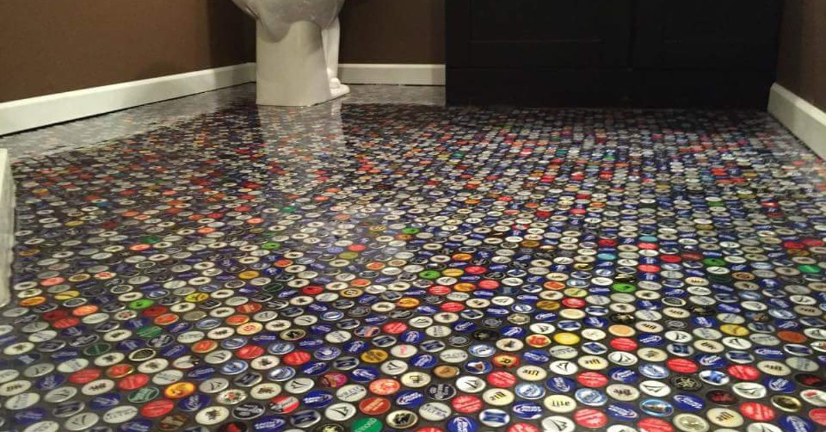 Beer Cap Bathroom Floor Hometalk