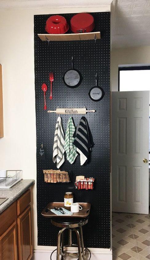 peg board kitchen storage wall, kitchen design, storage ideas