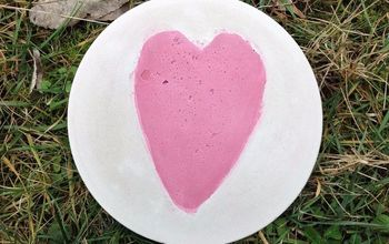 DIY Heart Valentine's Day Stepping Stone With Embedded Colored Cement