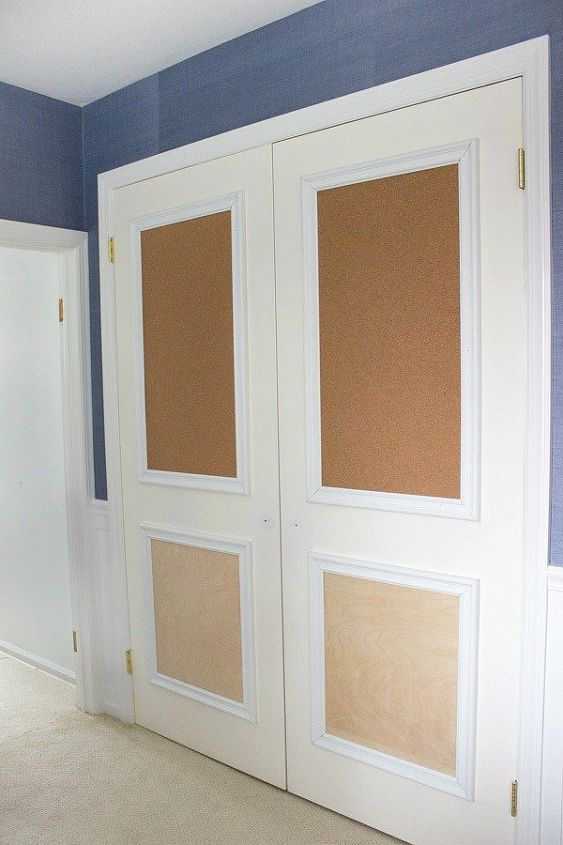 Closet Door Diy Makeover With Molding And Bulletin Boards Hometalk
