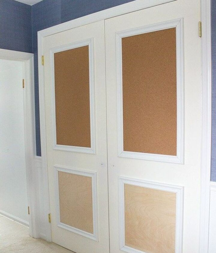 closet door diy makeover with molding and bulletin boards, closet, doors, wall decor, woodworking projects