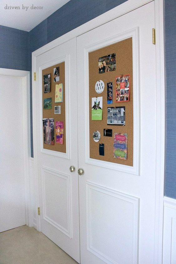 Closet Door Diy Makeover With Molding And Bulletin Boards Hometalk