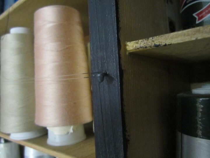 t sewing tip stop your cone threads from falling off the shelf, shelving ideas