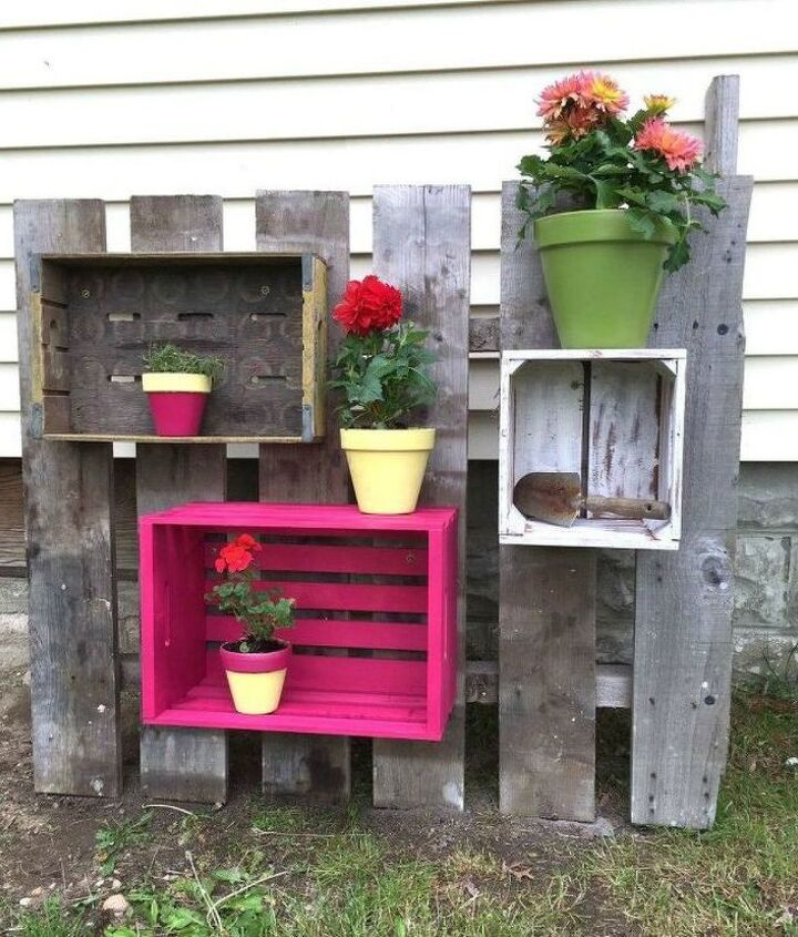 s 11 gorgeous backyard ideas you need to save for spring, Turn crates into funky planter frames