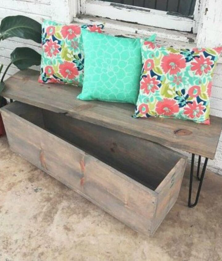 s 11 gorgeous backyard ideas you need to save for spring, Build a hairpin bench with storage