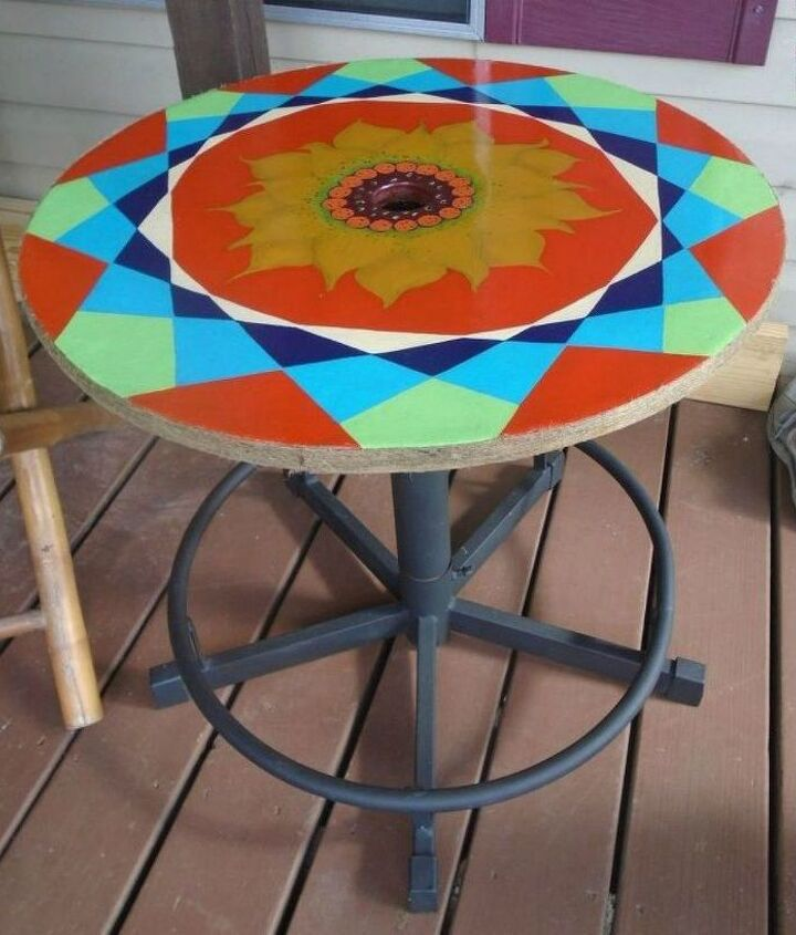 s 11 gorgeous backyard ideas you need to save for spring, Upcycle a porch table in psychedelic colors