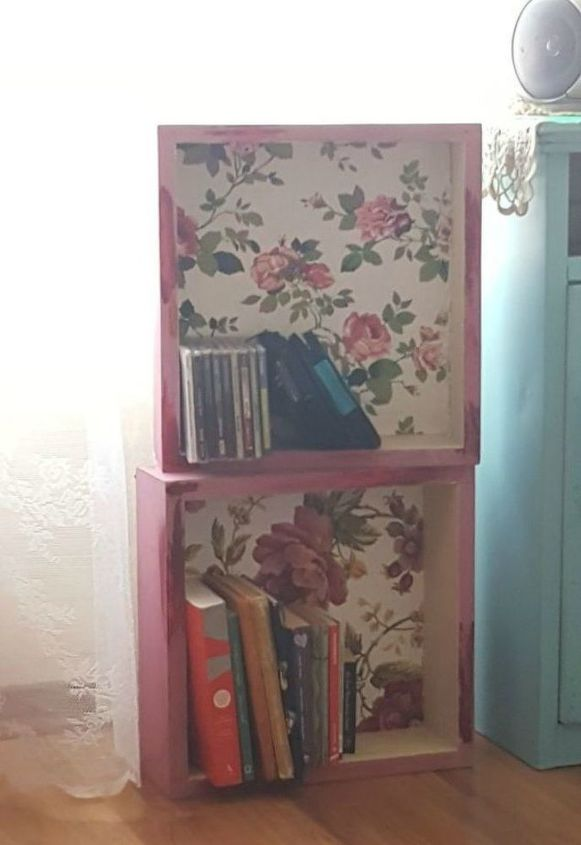 s pull drawers out of your dressers for these 12 brilliant ideas, painted furniture, Pile them up for makeshift bookshelves