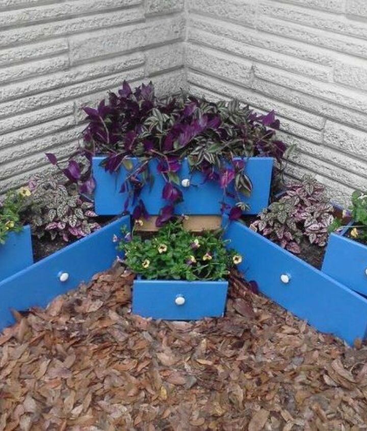 s pull drawers out of your dressers for these 12 brilliant ideas, painted furniture, Reuse them as bright planters in your garden