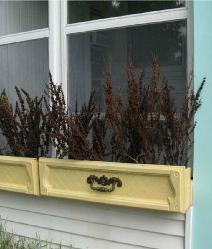 s pull drawers out of your dressers for these 12 brilliant ideas, painted furniture, Alter them into pretty window boxes