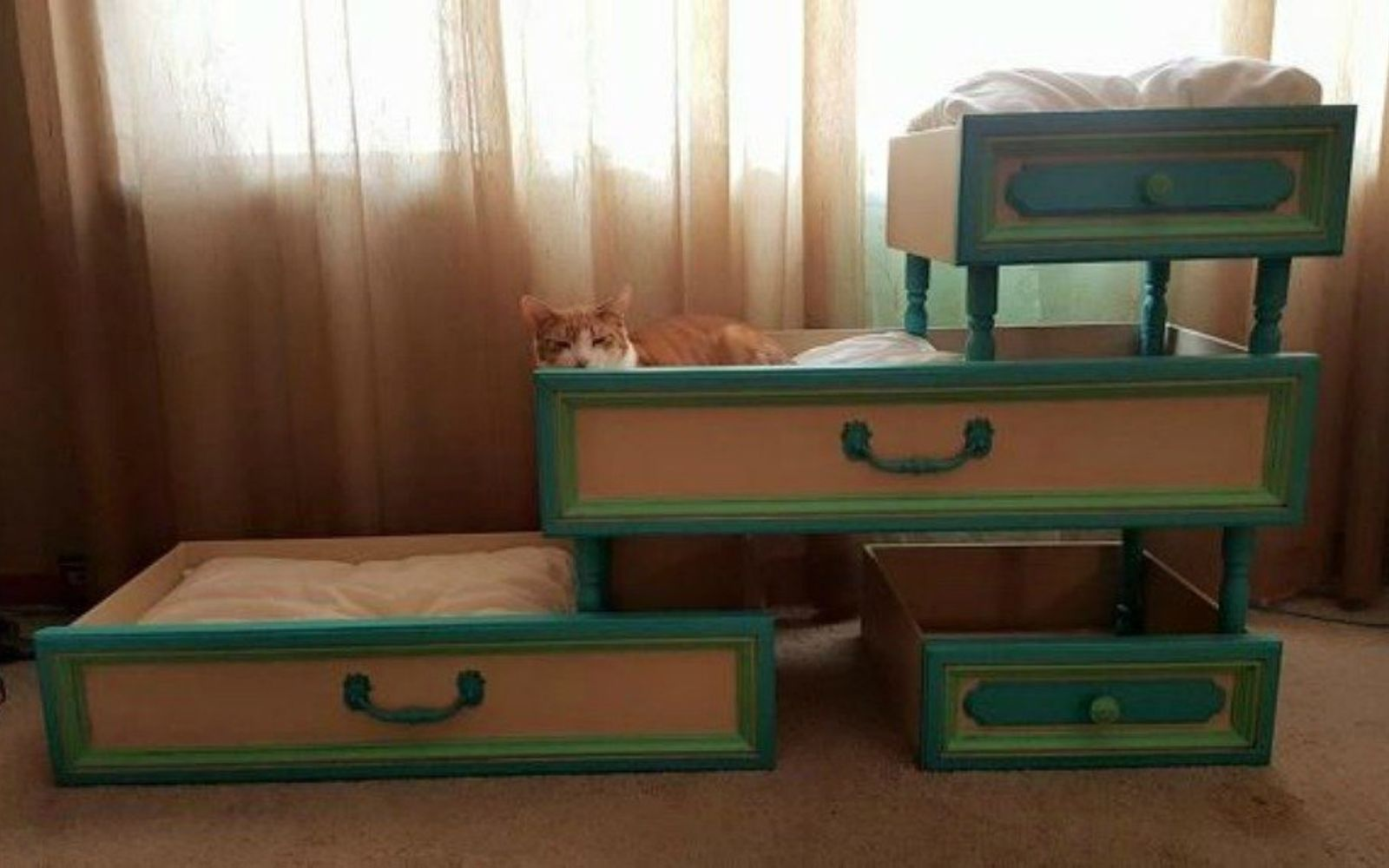 s pull drawers out of your dressers for these 12 brilliant ideas, painted furniture, Fashion them into a tiered cat bed