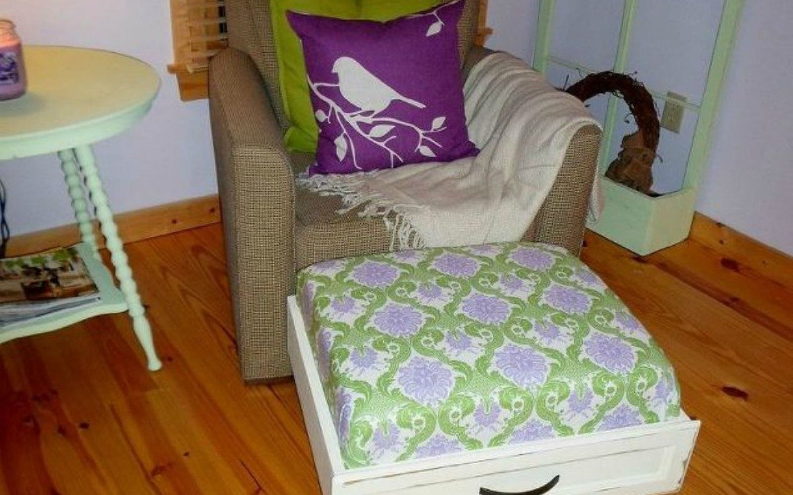 s pull drawers out of your dressers for these 12 brilliant ideas, painted furniture, Convert them into comfy ottomans