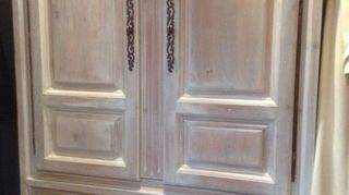, Knotty pine armoire purchased from Craigslist that I whitewashed