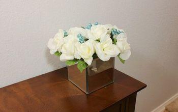 dollar tree diy mirror box vase and flower arrangement, gardening, home decor