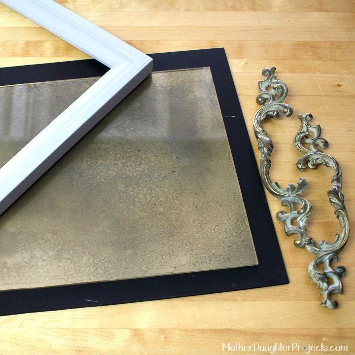 faux vintage mirror tray, home decor