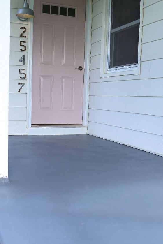 faux cement tiled front porch with stencils, concrete masonry
