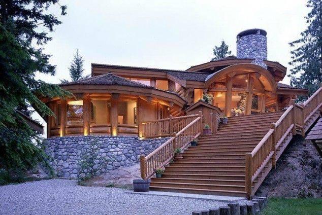 e a round log house