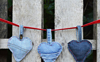 Cute Padded Denim Hearts Made From Your Old Jeans