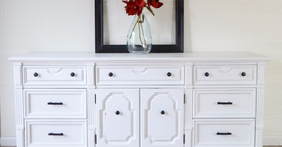 Vintage Dresser Makeover In White Chalk Paint And Oil Rubbed Hardware Hometalk
