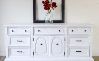 vintage dresser makeover in white chalk paint and oil rubbed hardware, chalk paint, painted furniture, painting