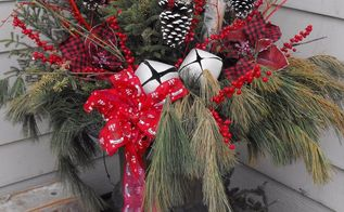 plaid valentines day winter container, seasonal holiday decor, valentines day ideas, Christmas Plaid Winter Container