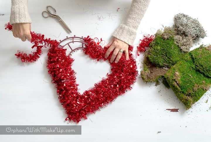 easy valentine heart shaped moss wreath hometalk