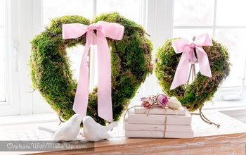 easy valentine heart shaped moss wreath, crafts, seasonal holiday decor, valentines day ideas, wreaths