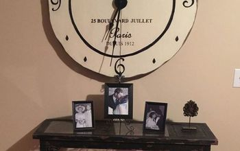 large clock made from a table top, diy, painted furniture, repurposing upcycling, wall decor