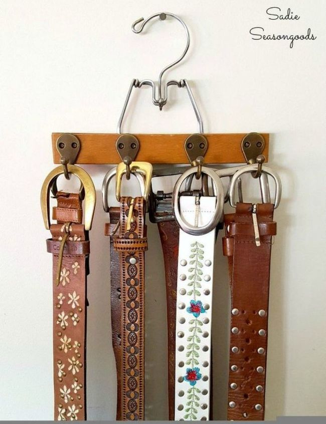 s why you should use hanging storage from now on 13 ways, storage ideas, Add hooks to a skirt hanger to store belts