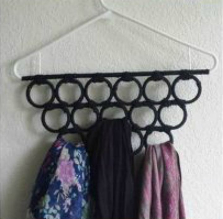 s why you should use hanging storage from now on 13 ways, storage ideas, Glue shower curtain rings to a hanger