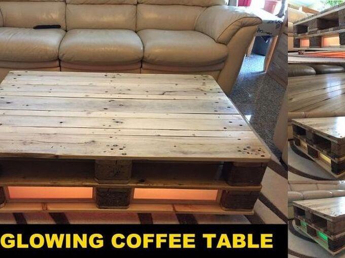 diy pallet coffee table glowing, painted furniture, pallet