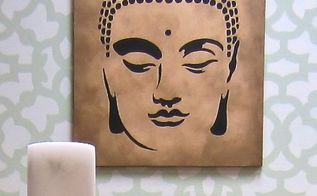 learn how to upcycle an old canvas with a stencil, how to