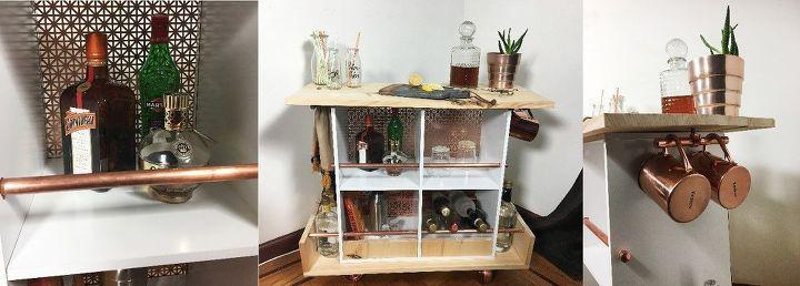 book shelf turned bar cart, outdoor living, shelving ideas