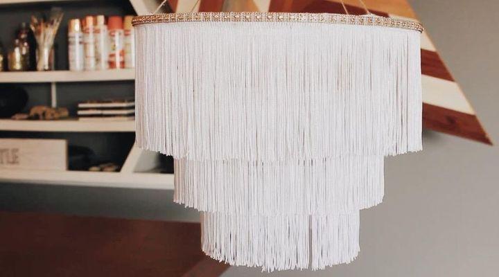 diy chandelier boho fringe, lighting