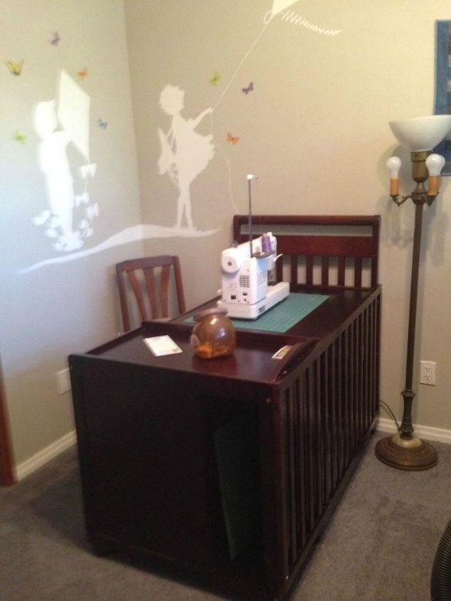 s don t kick your old crib to the curb before seeing these 14 ideas, curb appeal, Transform it into a sewing table or desk