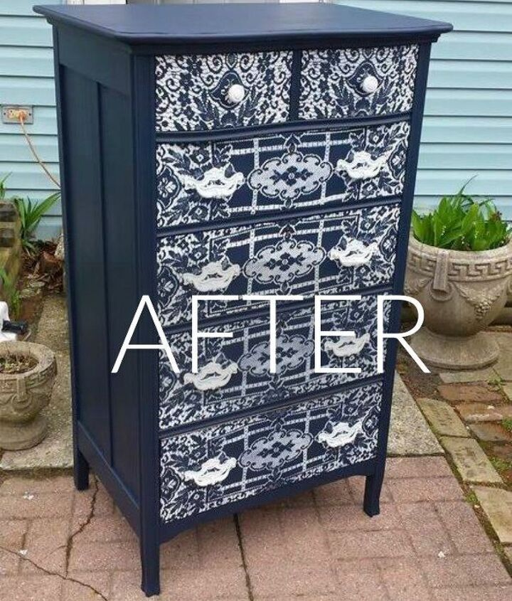 s stop everything these dresser makeovers look ah mazing, painted furniture, After A bold blue dresser that stands tall