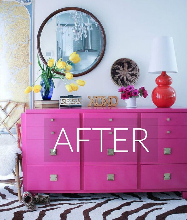 s stop everything these dresser makeovers look ah mazing, painted furniture, After A hot pink bright and stunning dresser