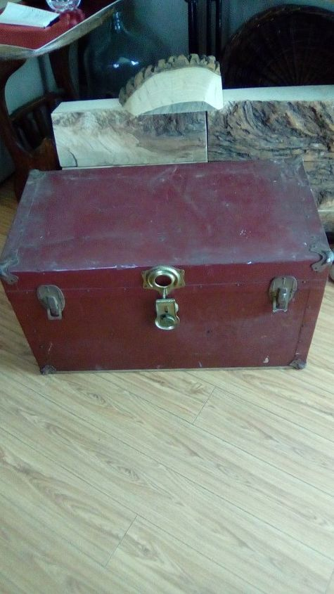 q got this old metal chest for 15 00, painted furniture