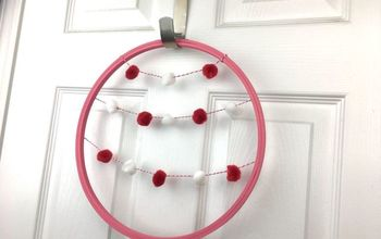Valentines Wreath Using Embroidery Hoop and Pom Pom Garland
