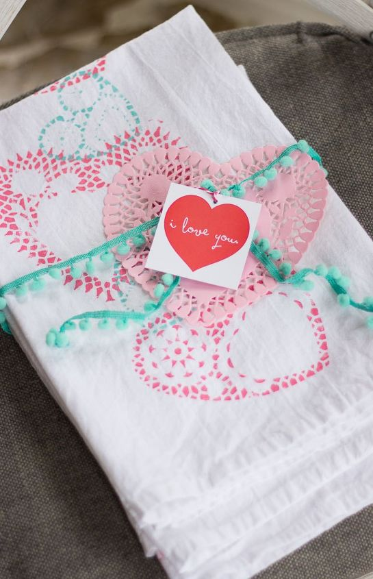 doily stamped valentine s day tea towels, bathroom ideas, seasonal holiday decor, valentines day ideas