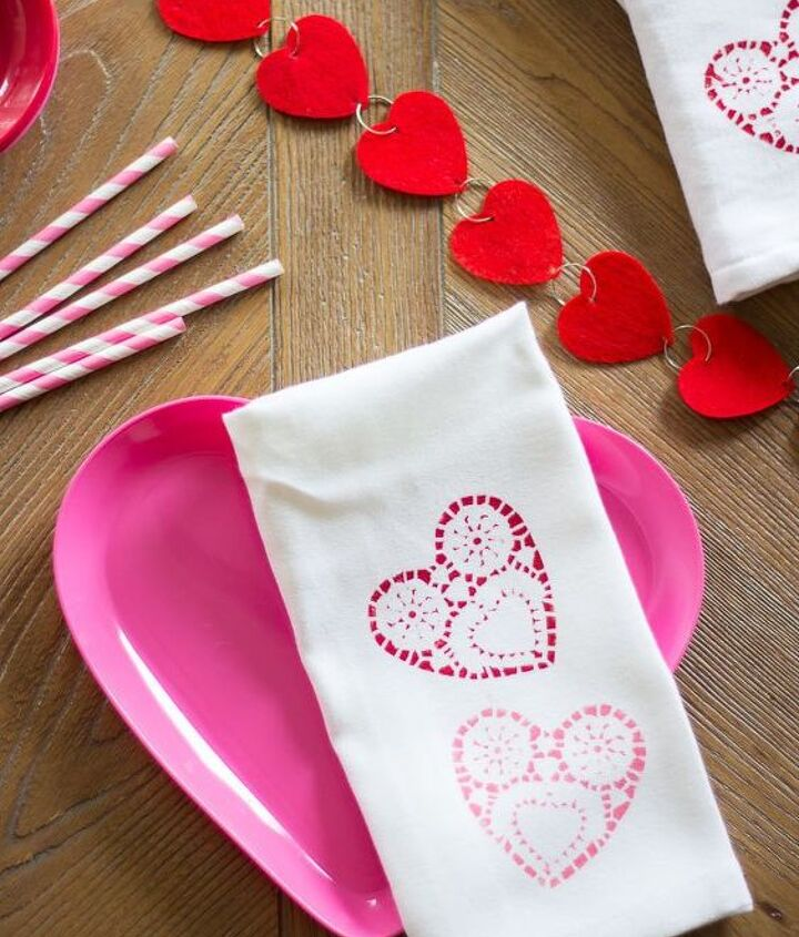 Doily Stamped Valentine S Day Tea Towels The Best Gifts Hometalk