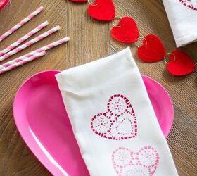 Doily Stamped Valentine S Day Tea Towels, Bathroom Ideas, Seasonal Holiday  Decor, Valentines